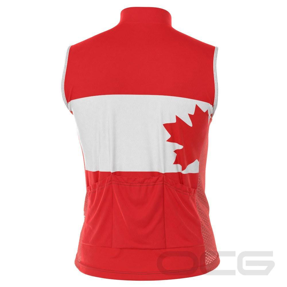 Men's Canada Flag Maple Leaf Sleeveless Cycling Jersey - Online Cycling Gear