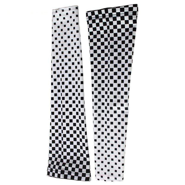 Chequered Flag White Cycling Arm Warmers By Online Cycling Gear