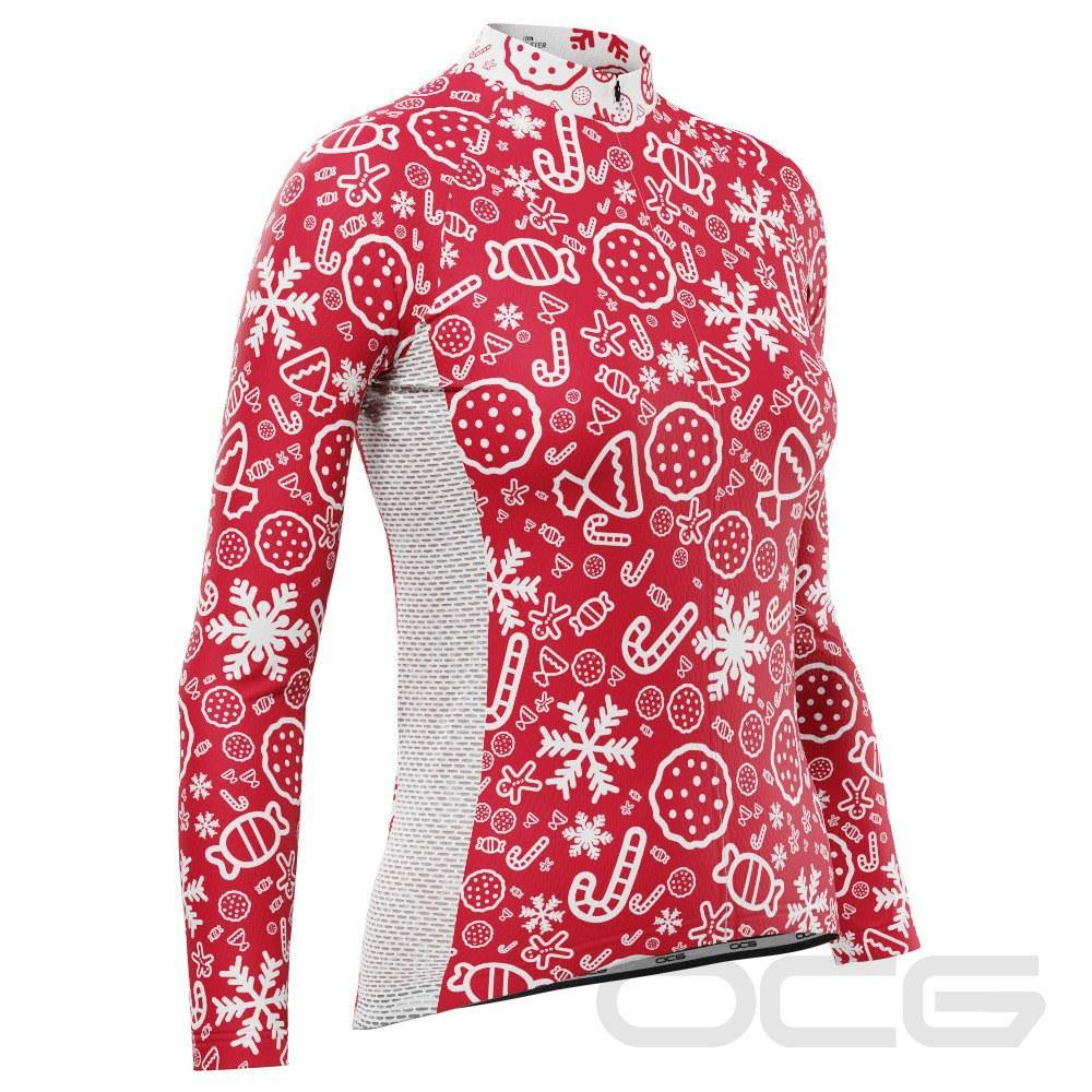 Women's Christmas Candy Long Sleeve Cycling Jersey - Online Cycling Gear