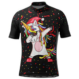 Men's Dabbing Santa Unicorn Short Sleeve Cycling Jersey