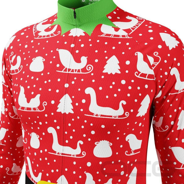 Men's Christmas Elf Long Sleeve Cycling Jersey