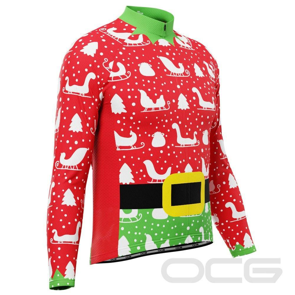 Men's Christmas Elf Long Sleeve Cycling Jersey - Online Cycling Gear