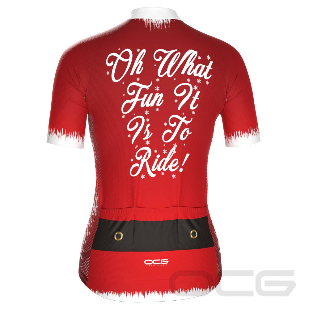 Women's Christmas Santa Fun To Ride Short Sleeve Cycling Jersey