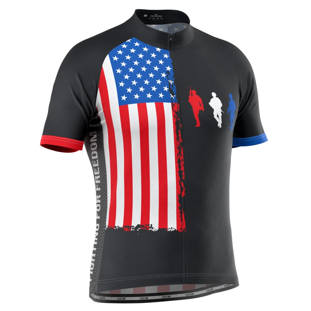 Men's Fight For Freedom USA Flag Short Sleeve Cycling Jersey