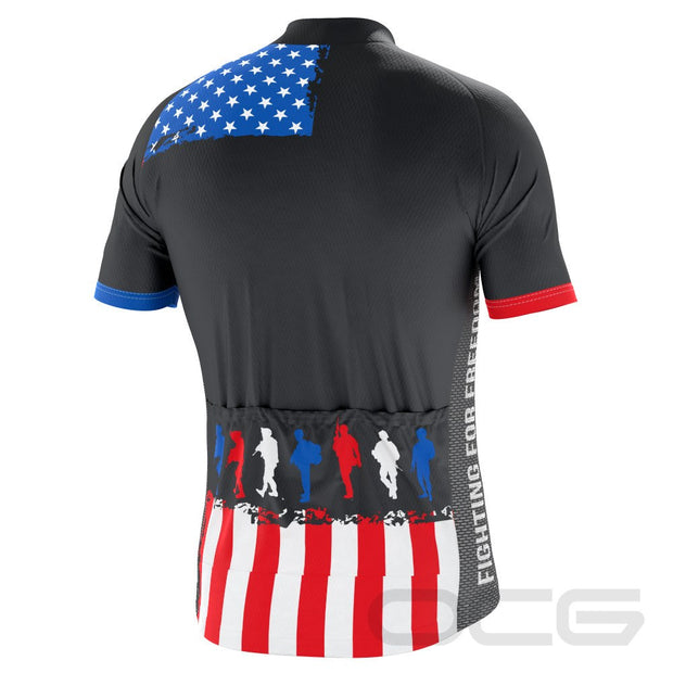 Men's Fight For Freedom Soldiers USA Flag Cycling Jersey