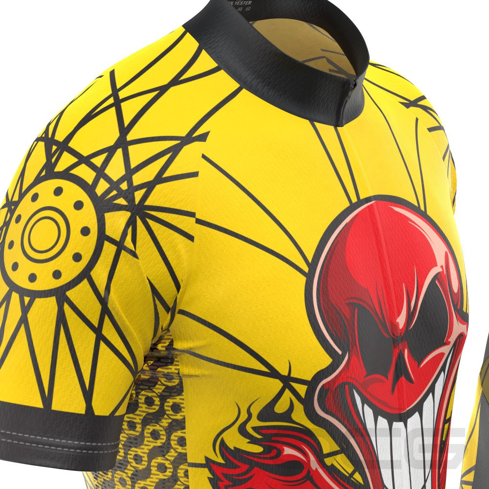 Men's Flaming Red Skull Short Sleeve Cycling Kit