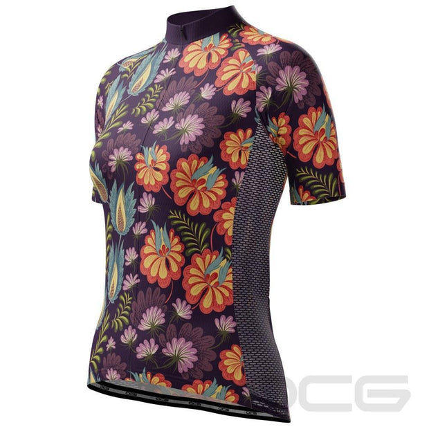 Women's Floral Botanicals Short Sleeve Cycling Jersey