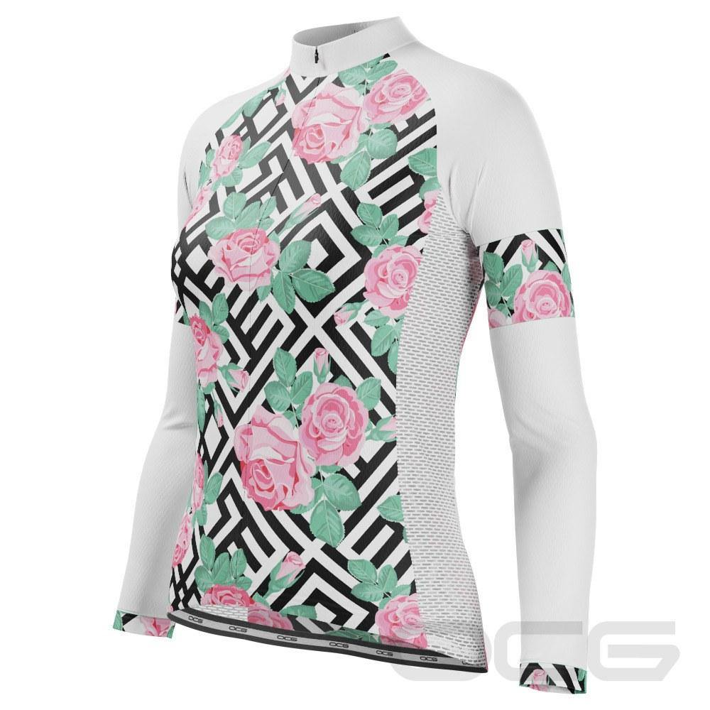 Women's Floral Maze Long Sleeve Cycling Jersey - Online Cycling Gear