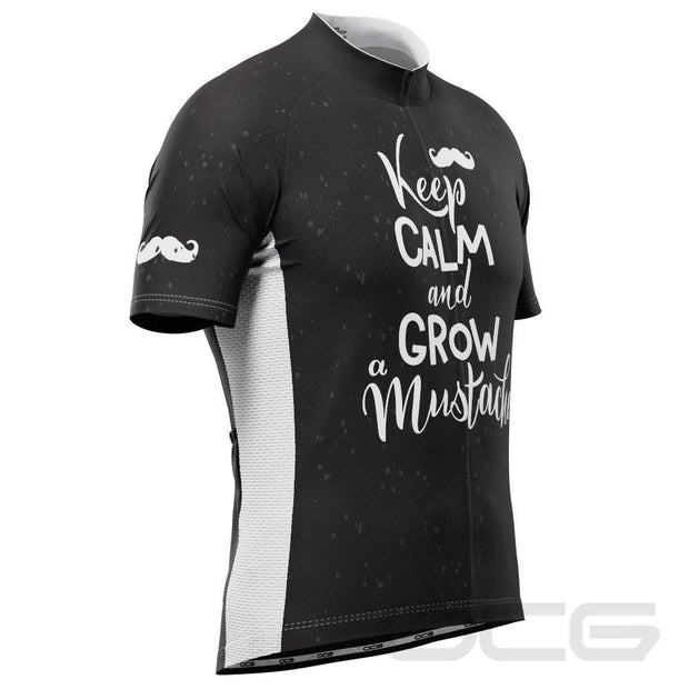 Men's Keep Calm Mustache Short Sleeve Cycling Jersey