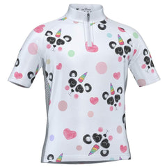 Kid's I Love Panda Unicorn Short Sleeve Cycling Jersey