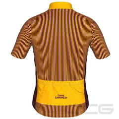 LDL Kids Yellow Striped Monster Short Sleeve Cycling Jersey By Little Dog Laughed
