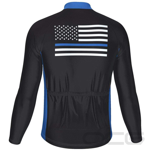 Men's Blue American Flag Long Sleeve Cycling Jersey By Online Cycling Gear