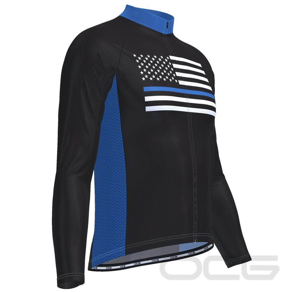 Men's Thin Blue Line American Flag Long Sleeve Cycling Jersey