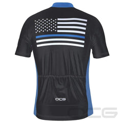 Men's Blue American Flag Short Sleeve Cycling Jersey By Online Cycling Gear