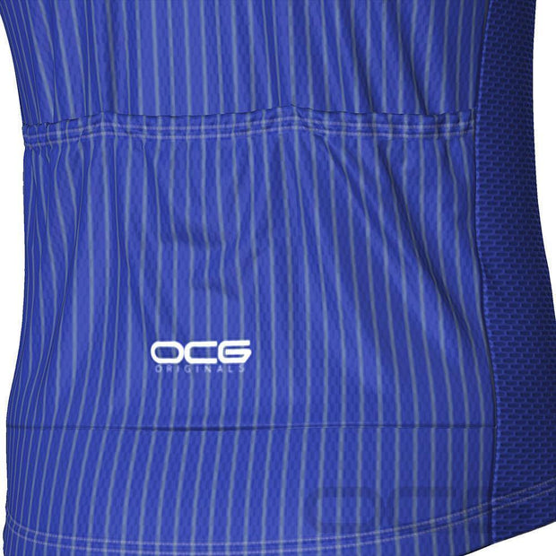 Men's Blue Stripe Banded Cycling Jersey By OCG Originals