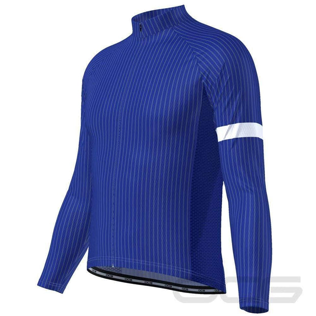Men's Blue Stripe Banded Long Sleeve Cycling Jersey By OCG Originals