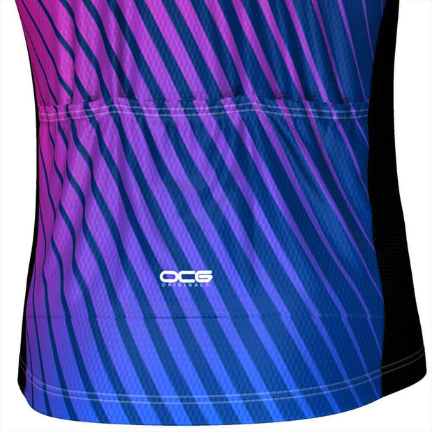 Men's Disco Stripe Black Short Sleeve Cycling Jersey By OCG Originals