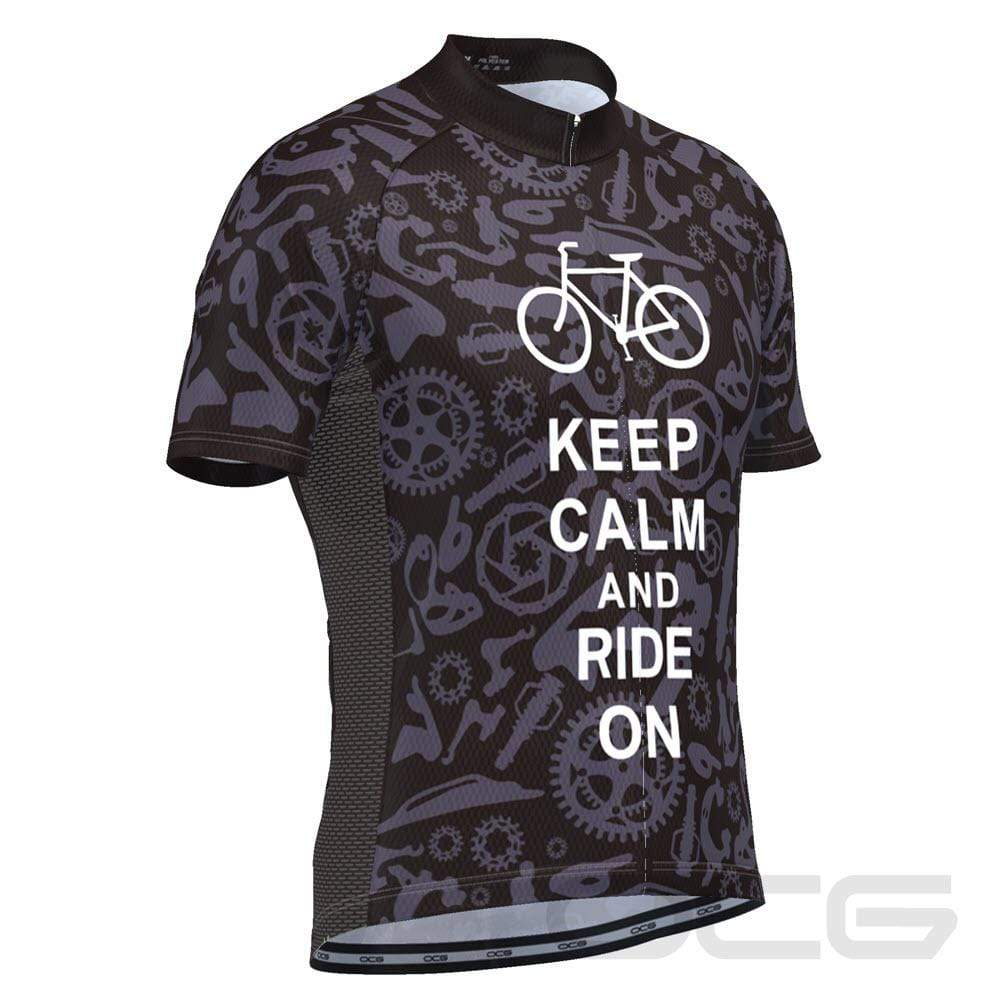 Men's Keep Calm and Ride On Short Sleeve Cycling Jersey