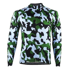 Men's Long Sleeve Camouflage Winter Cycling Jersey By Online Cycling Gear