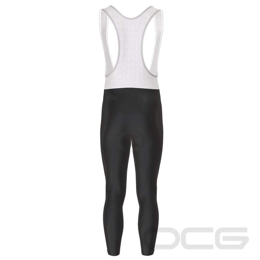 Men's Plain Black Full Length Cycling Bib Tights