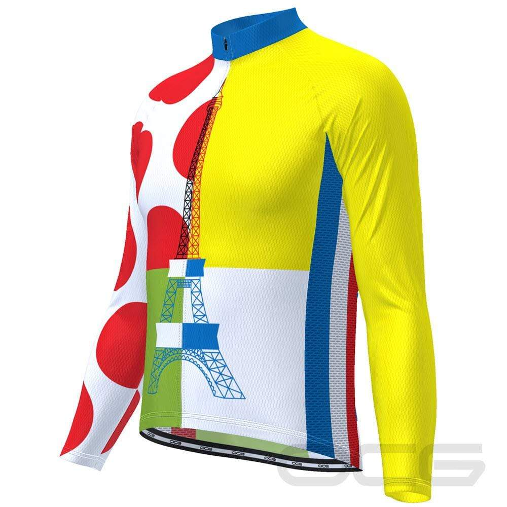 Men's Tour de France Leaders KOM Sprinters Long Sleeve Cycling Jersey