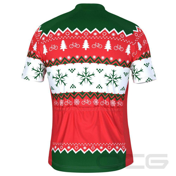 Men's Ugly Christmas Sweater Short Sleeve Cycling Jersey By Online Cycling Gear