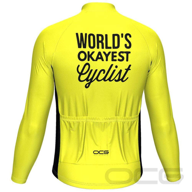 Men's Worlds Okayest Cyclist Long Sleeve Cycling Jersey By OCG Originals