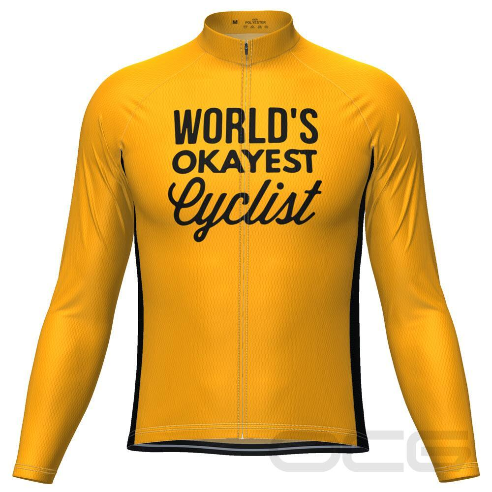 Men's Worlds Okayest Cyclist Long Sleeve Cycling Jersey