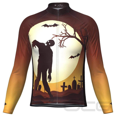 Men's Zombie Graveyard Long Sleeve Cycling Jersey By OCG Originals