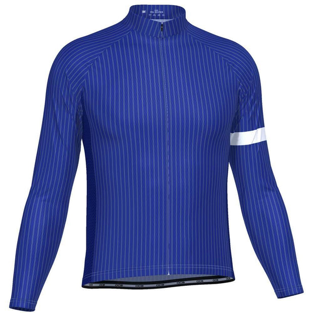 Men's Blue Stripe Banded Long Sleeve Cycling Jersey