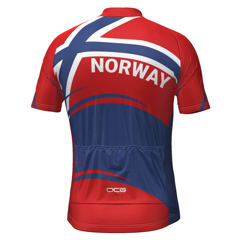 Men's Norway Bold Flag Short Sleeve Cycling Jersey