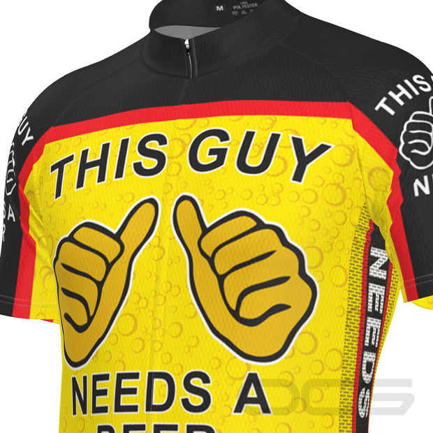 Men's This Guy Needs a Beer Short Sleeve Cycling Jersey