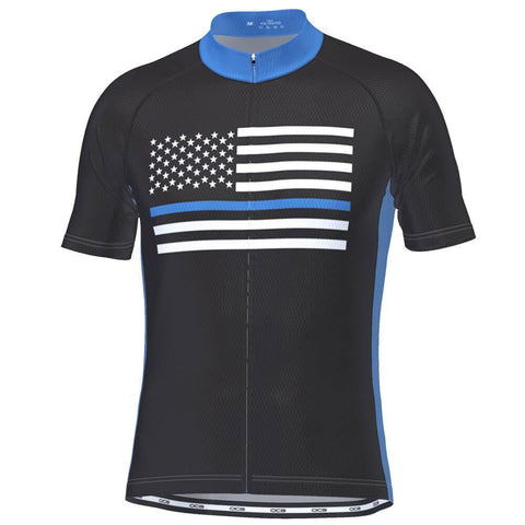 Men's Blue American Flag Short Sleeve Cycling Jersey