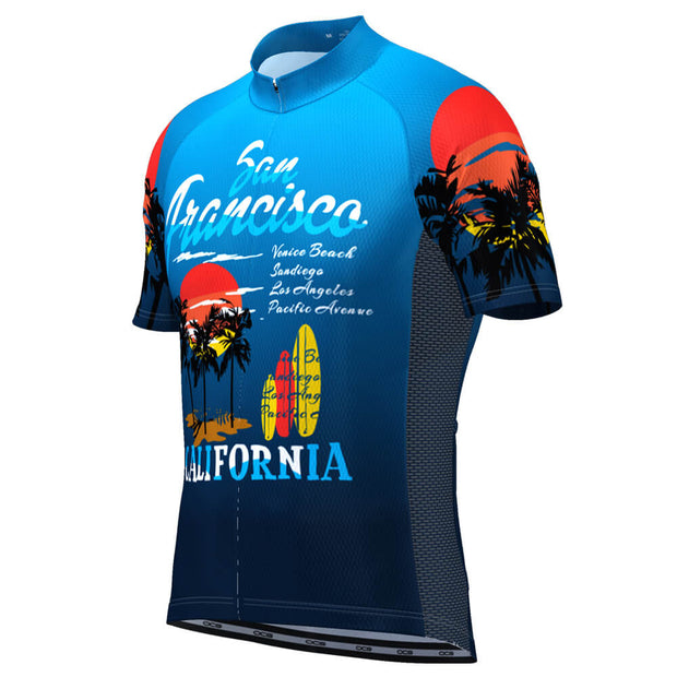 Men's San Francisco California Beach Short Sleeve Cycling Jersey