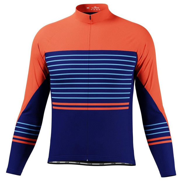 Men's Orange Blue Stripe Long Sleeve Cycling Jersey