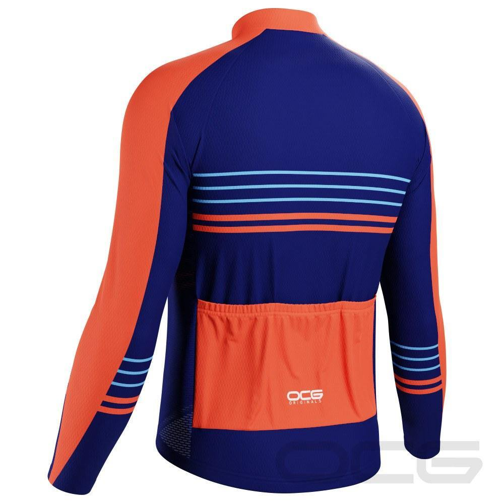 Men's Orange Blue Stripe Long Sleeve Cycling Jersey - Online Cycling Gear
