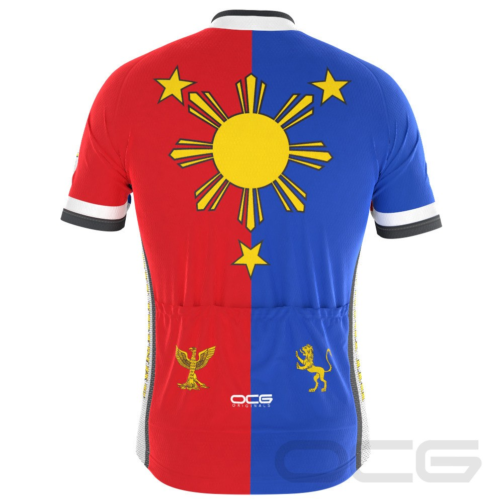 Men's Pilipinas Philippines Flag Short Sleeve Cycling Jersey