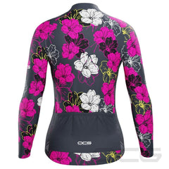 Women's Pink Floral Long Sleeve Cycling Jersey