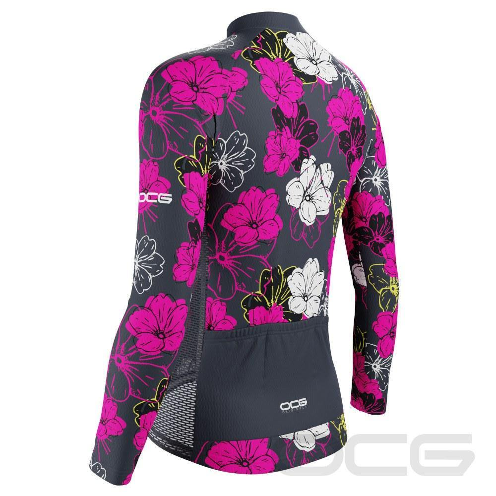 Women's Pink Floral Long Sleeve Cycling Jersey - Online Cycling Gear