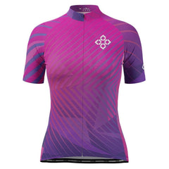 Women's Pink Geo Short Sleeve Cycling Jersey