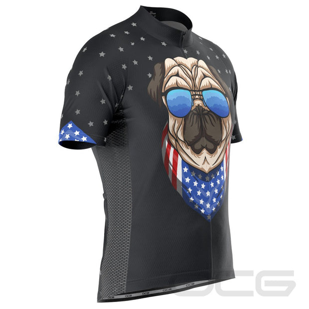 Men's Pug Life Puppy Dog Short Sleeve Cycling Jersey