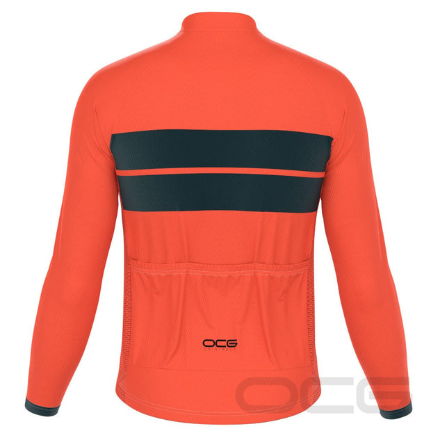 Men's Retro Two Stripe Orange Long Sleeve Cycling Jersey