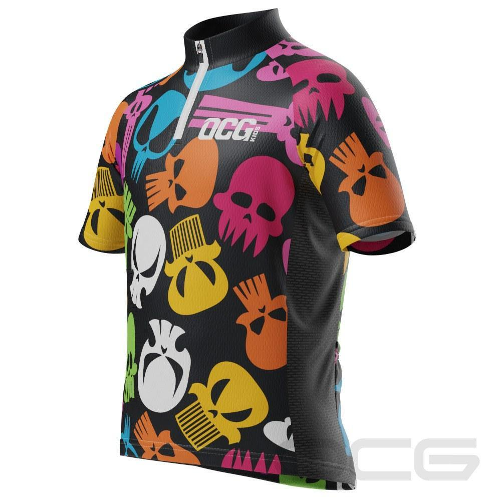 Kid's Scary Skulls Short Sleeve Cycling Jersey - Online Cycling Gear