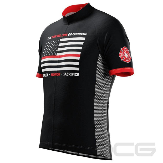Men's Thin Red Line Of Courage Short Sleeve Cycling Jersey