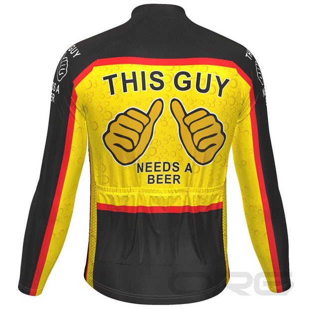 This Guy Needs a Beer Long Sleeve Cycling Jersey By Online Cycling Gear