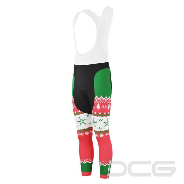 Men's Ugly Christmas Sweater Gel Padded Cycling Bib Tights