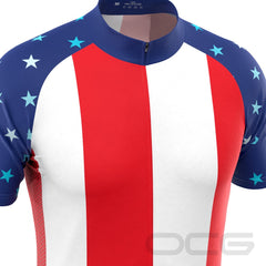 Men's USA American Flag Short Sleeve Cycling Jersey