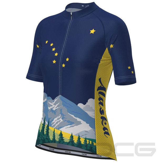 Women's Alaska Flag Short Sleeve Cycling Jersey By OCG Originals
