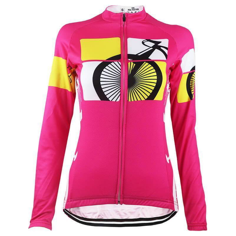 Women's Born to Ride Long Sleeve Pink Cycling Jersey