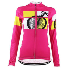 Women's Born to Ride Long Sleeve Pink Cycling Jersey By Online Cycling Gear